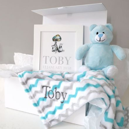 Personalised Blanket, Teddy And Art Baby Hamper